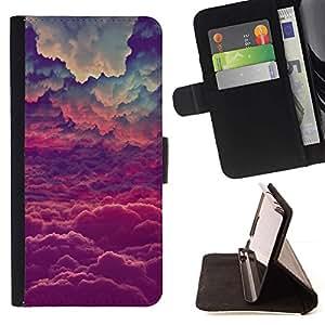 Momo Phone Case / Flip Funda de Cuero Case Cover - Azul Nubes Sobre Magia Cielo Rosa Violeta - Samsung Galaxy J1 J100