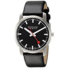Mondaine Unisex A6383035014SBB Simply Elegant Analog Display Swiss Quartz Black Watch