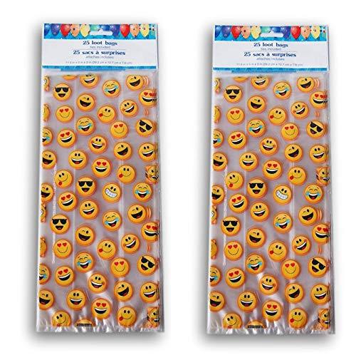 Smiley Faces Cellophane Party Favor Loot Bag - 50 Count]()