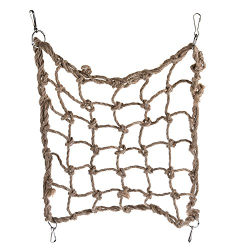 Yunt Pet Parrot Hammock Thickened Coarse Hemp Rope Climbing Net Bird Rope Net Swing Ladder Toys for Squirrel Birds L