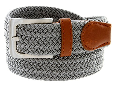 Comfort Elastic Stretch Belt With Silver Buckle (Gray, (Men Fabric Belt)