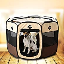 """HENREK Pet Dog Cat Playpen Cage Crate - Portable Folding Exercise Kennel - Indoor & Outdoor Use (S(28""""Dia x 18""""H), Brown)"""