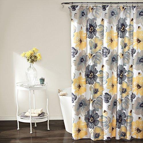 "Lush Decor 72"" x 72"" Leah Floral Grey/Yellow Polyester Bathr"