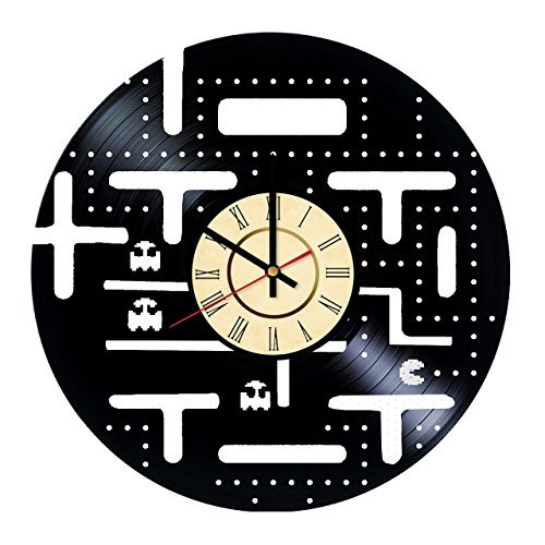 Fun Door Pac-Man Vinyl Record Wall Clock - Get Unique Living, Bed, Bath Room Wall Art décor - Gift Ideas for Men, Women, Sibling – Unique Game Art Design ()
