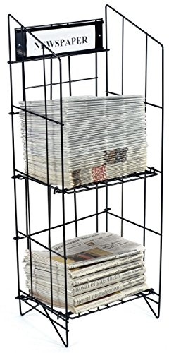 Displays2go Newspaper Rack with Includes a 14 x 4.5 Inches Sign Frame, Black Coated Steel Wire, Floor Standing - Display Rack Newspaper