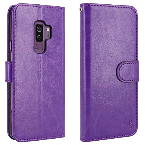 LK Galaxy S9 Plus Case, [Wrist Strap] Luxury PU Leather Wallet Flip Protective Case Cover with Card Slots and Stand for Samsung Galaxy S9 Plus (Purple) by LK (Image #2)
