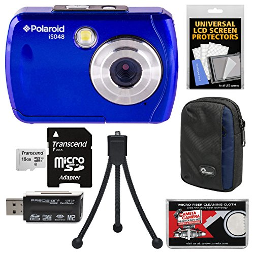Polaroid iS048 Waterproof Digital Camera (Blue) with 16GB Card + Case + Tripod + Kit by Polaroid