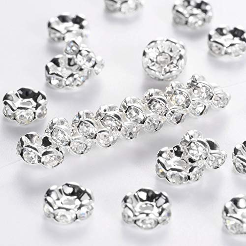 PH PandaHall About 200 Pcs 7mm Silver Plated Brass Rondelle Beads Wavy Edge Crystal Rhinestone Spacer Charm Bead Nickel Free for Jewelry Making