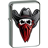 Vector KGM Thunderbird Custom Lighter - Cowboy Bandit Thief Dead Skull Head High Polish Chrome