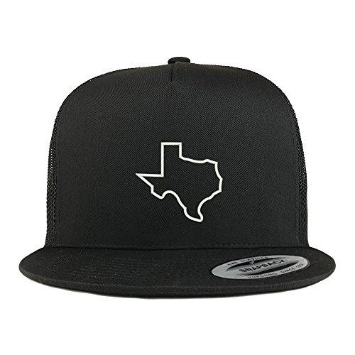Mesh Back 5 Panel (Trendy Apparel Shop Texas State Outline Embroidered 5 Panel Flat Bill Trucker Mesh Back Cap - Black)