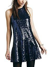 Women's Sequin Glitter Halter Drop-Waist Mini Party Dress