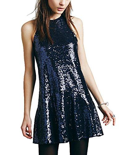 Avoir Aime Women's Sequin Halter Drop-Waist Mini Party Dress - Blue, M