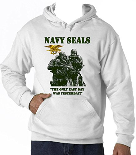 teesquare1st Men's Navy Seals Tandem White Hoodie Size Large