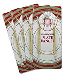 Brass Vinyl Coated Plate Hanger 8 to 10 Inch - Set of 4 Pcs - Clear Vinyl Sleeves Protect the Plate - Hook and Nail Included