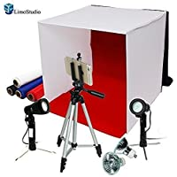 LimoStudio Photography Photo Studio 16 Table Top Photo Tent 600Lumes LED Lighting Kit with 41 Camera Tripod & Spring Clip Cell Phone Holder, AGG778V2