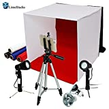 "LimoStudio Photography Photo Studio 16"" Table Top Photo Tent 600Lumes LED Lighting Kit with 41"" Camera Tripod & Spring Clip Cell Phone Holder, AGG778V2"