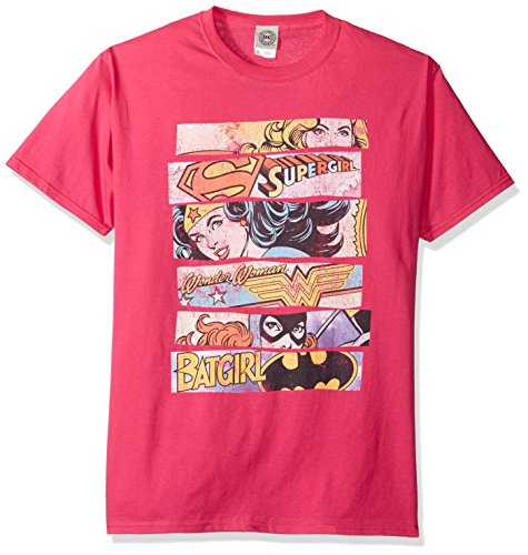 DC Comics Men's Short Sleeve T-Shirt, Hot Pink, Small]()