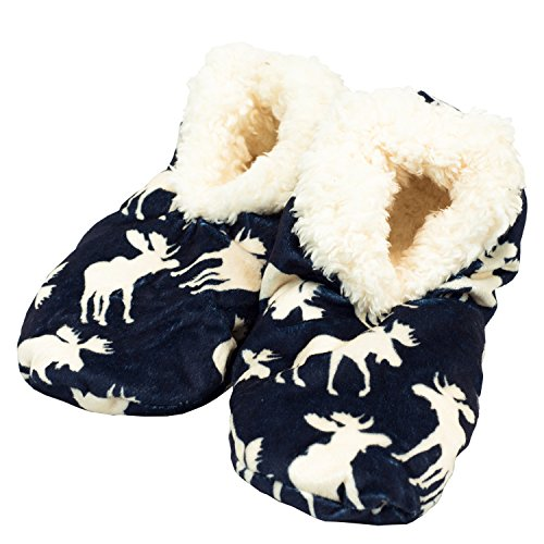 LazyOne Women's Fuzzy Feet Slipper Socks (L/XL, Classic Moose Blue)