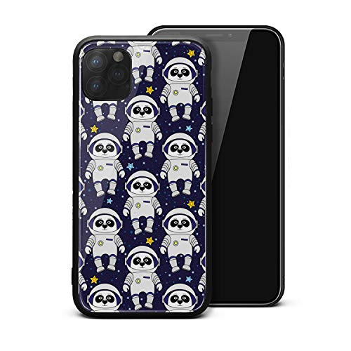 Blue Panda Astronaut iPhone 11 Por Max Case, Tempered Glass Back Cover + Soft Silicone Bumper Protection Case
