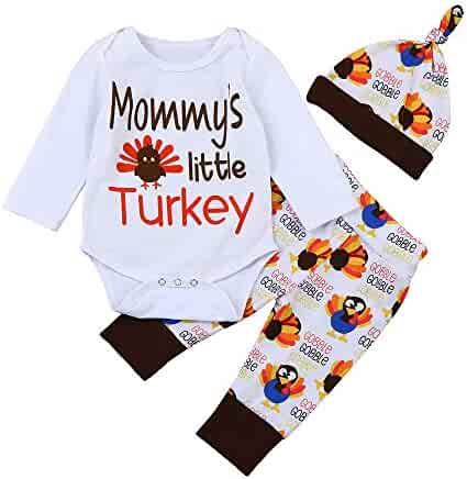 db310903f Infant Baby Thanksgiving Outfit Boys Girls Mommy's Little Turkey Romper  Tops + Long Pants + Hat
