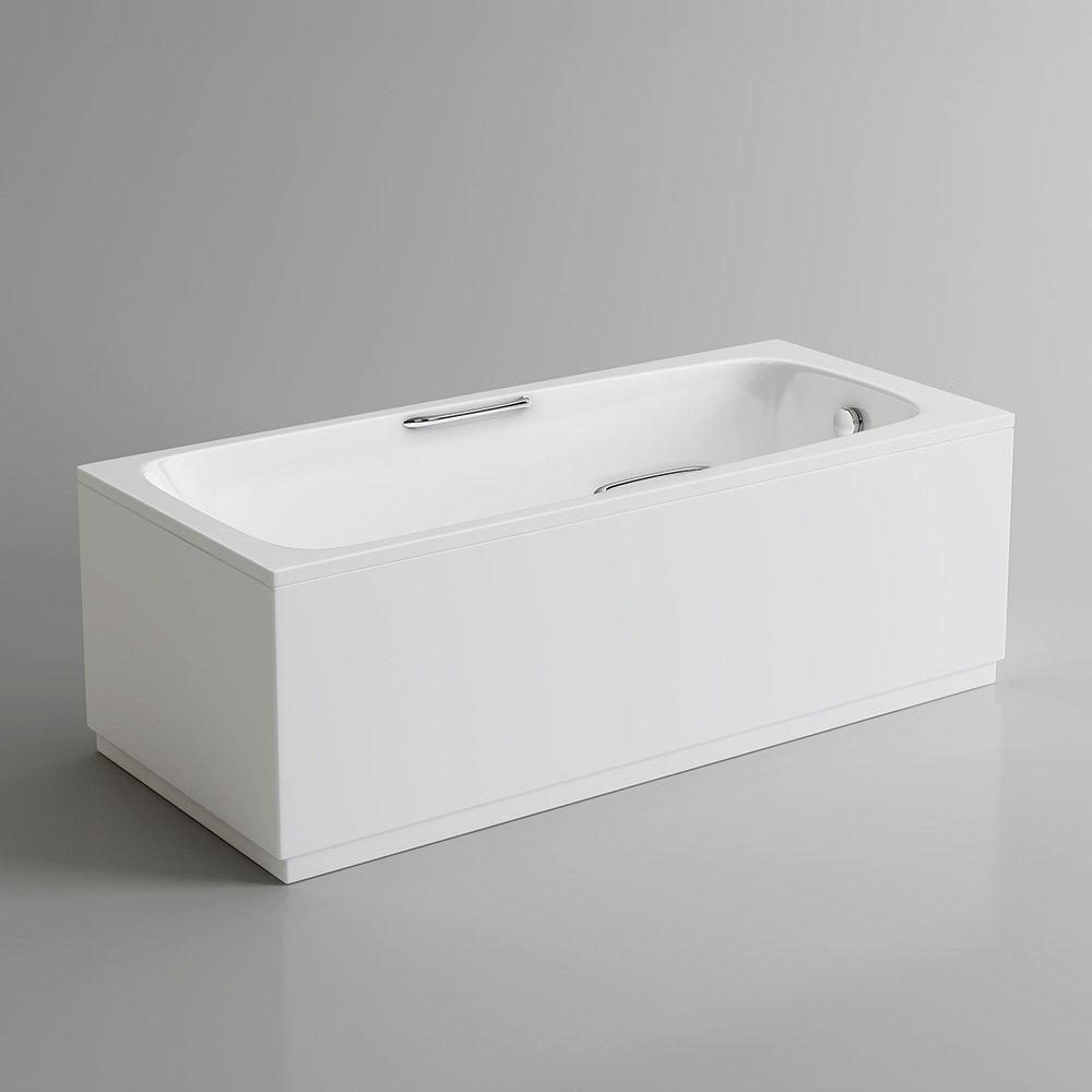 1600 mm Round Single Ended Bath Modern Straight White Bathtub with ...