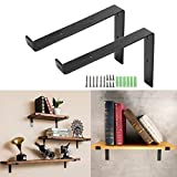 Vivona 2 Pack T-Shape 8''L x 6''H Handcrafted Forged Black Iron Shelf Brackets Industrial Decorative Wall Lip Brackets Metal Floating Shelf with Screw Accessories