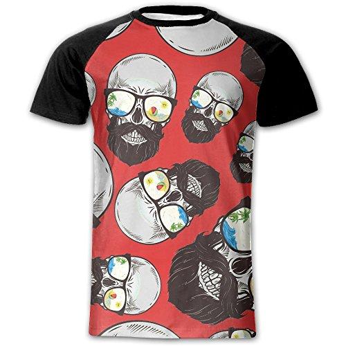 Beard-Skull-With-Sunglasses Adults Casual Baseball Short Sleeve Raglan Tee Shirt