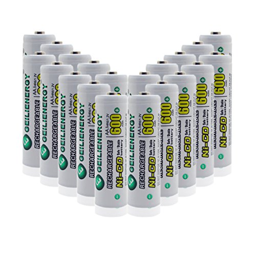 GEILIENERGY AA NiCd 600 mAh 1.2V Rechargeable Batteries For Solar light (Pack of 20)