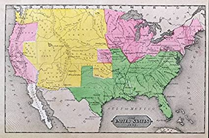 1861 United States Map.Amazon Com Imagekind Wall Art Print Entitled Map Of The United