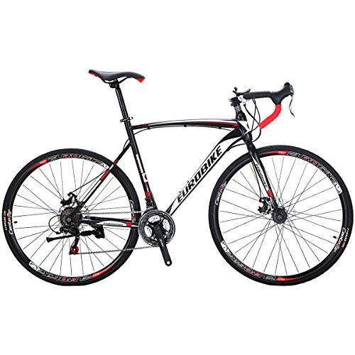 Eurobike Road Bike EURXC550 21 Speed Dual Disc Brake Bicycle 54 cm Frame 700C Spoke Wheels Road Bicycle Black White 30
