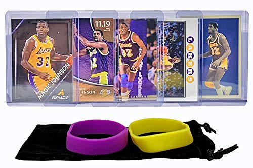 Magic Johnson Basketball Cards Earvin Johnson Assorted (5) Bundle - Los Angeles Lakers Trading Card Gift Pack - Magic Johnson Basketball