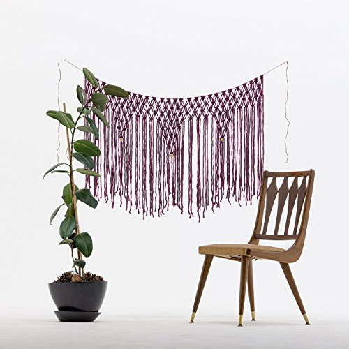 The House Phoenix Purple Handcrafted Macrame Wall Hanging. Cream Window Curtain Tapestry. Wedding Backdrop.