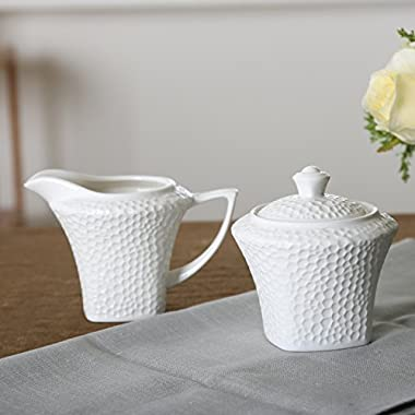 SOLECASA  7+7.5-OZ  White Porcelain/Ceramic Sugar and Creamer Set, Pitcher and Sugar Bowl Set
