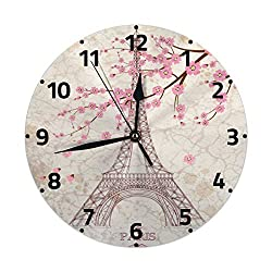 CCshopping Paris Eiffel Tower France Cherry Blossom 9.8 inches Round Wall Clock Silent Non Ticking, Battery Operated Wall Clocks