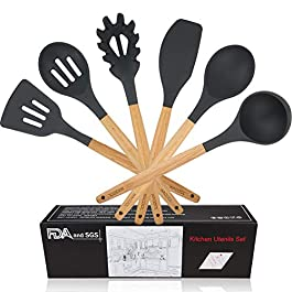 WACOOL 6 Piece Silicone Cooking Kitchen Utensil Set Tools with Wood Handles Turner Tongs Spatula Spoon BPA Free Non…