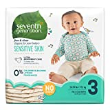 Image of Seventh Generation Baby Diapers, Free and Clear for Sensitive Skin, Original No Designs, Size 3 155ct (Packaging May Vary)