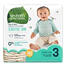 Seventh Generation Baby Diapers, Free and Clear for Sensitive Skin, Original No Designs, Size 3 155ct (Packaging May Vary)