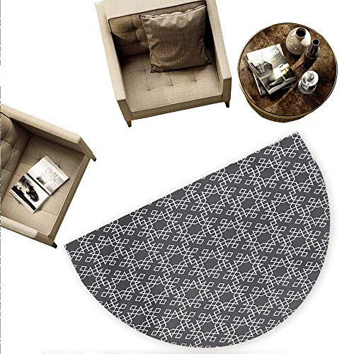 (Grey and White Semicircular Cushion Moroccan Star Pattern Arabesque Traditional Tile Symmetrical Motifs Entry Door Mat H 74.8