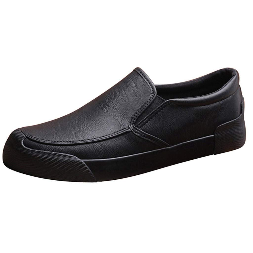 Men's Slip On Walking Dress Shoes Faux Leather Work Flats Summer Breathable Lightweight Wear Resistant Shoes by Lowprofile Black