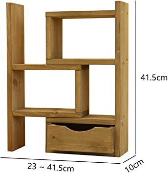 CLOTHES UK- Estantería de almacenamiento de mesa de oficina de madera Estantería de cajón creativo Estante de flor de planta Estanterías pequeñas de escalera tipo simple ajustable 41.5x10x41.5cm Bastidores de flores (