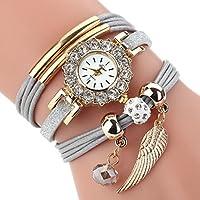 Leyorie Watch, Women Wing Pendant Crystal Quartz Luxury Bracelet Flower Gemstone Rhinestone Wristwatch