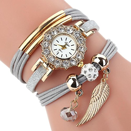 Leyorie Watch, Women Wing Pendant Crystal Quartz Luxury Bracelet Flower Gemstone Rhinestone Wristwatch (Grey) from Leyorie