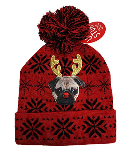 (Festive Holiday Reindeer Pug Dog Embellished Winter Ugly Christmas Beanie Hat with Pom Pom Red )
