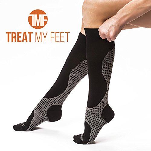 Compression Socks for Men & Women, Soft & Comfortable Knee High Pressure Socks for Men & Women - Boosts Circulation & Reduces Edema Swelling, 15-20 mmHG Anti-Embolism Stockings and DVT Socks - M
