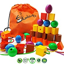 Jumbo Primary Stringing Bead Set with 36 Lacing Beads for Toddlers and Babies. Includes 4 Strings, Carrying Tote & Busy Bag Idea Guide - Montessori Toys for Fine Motor Skills Autism OT
