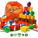 Skoolzy JUMBO PRIMARY STRINGING BEAD SET with 36 Lacing Beads for Toddlers and Babies, 4 Strings, Tote, Busy Bag Ideas Guide - Occupational Therapy Fine Motor Skills Sorting Montessori Toys Autism