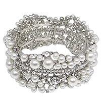 EVER FAITH Austrian Crystal Simulated Pearl Bridal Flower Stretch Bracelet Clear Silver-Tone