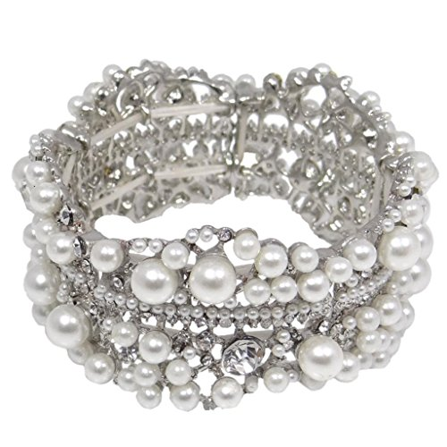 EVER FAITH Austrian Crystal Simulated Pearl Bridal Flower Stretch Bracelet Clear Silver-Tone -