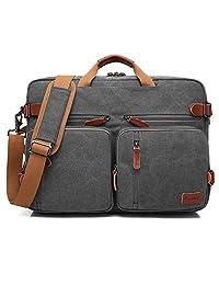 CoolBELL Convertible Backpack Messenger Bag Shoulder bag Laptop Case Handbag Business Briefcase Multi-functional Travel Rucksack Fits 17.3 Inch Laptop For Men / Women (Canvas Dark Grey)