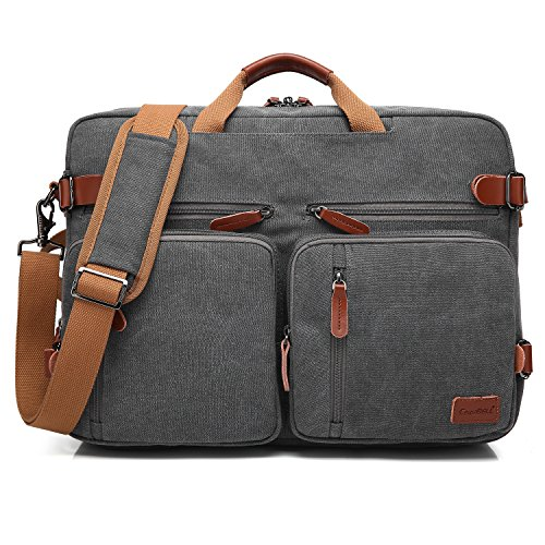 Gray Attache Laptop (CoolBELL Convertible Backpack Messenger Bag Shoulder Bag Laptop Case Handbag Business Briefcase Multi-Functional Travel Rucksack Fits 17.3 Inch Laptop for Men/Women (Canvas Dark Grey))